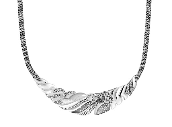 Lahar Bib Necklace in Silver with Diamonds